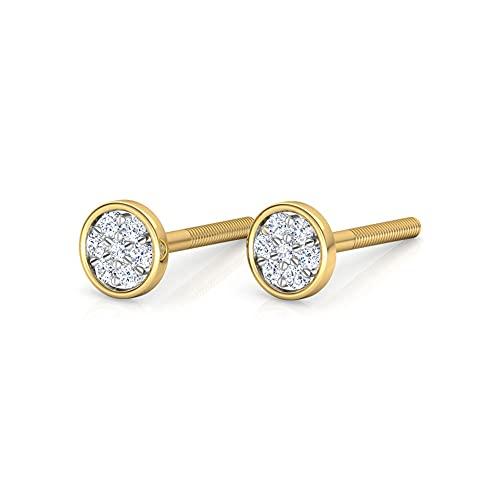 JewelsForum Pendientes De Botón De Racimo De Estrellas De Corte Redondo De Diamante Blanco Natural De 0,1 Quilates Para Mujer Con Regalos De Oro Amarillo Certificado De 14 Quilates (Color H