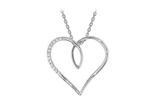 Tuscany Zilveren ketting met hanger, gerhodineerd, sterling zilver, wit, zirkonia, groot, open hartje, verstelbaar, 39,5 cm - 42 cm