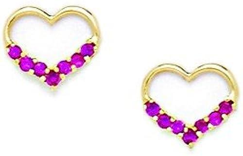14 Kt GelbGold Roter Zirkonia Herz Schraubverschluss Ohrringe-Ma  8 cm x 9 cm JewelryWeb mm