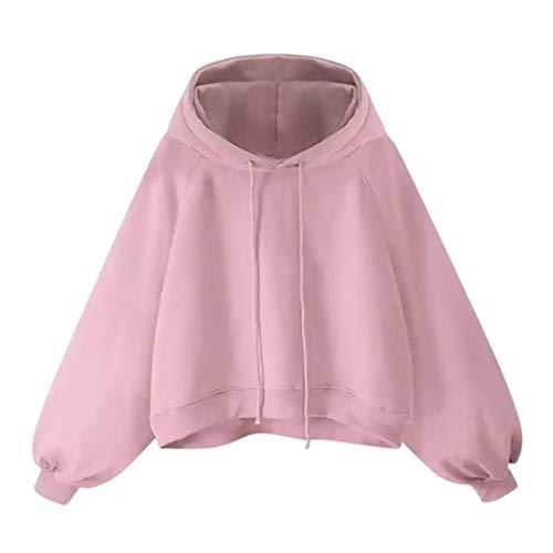 iHENGH Sweatshirt, Damen Laterne Sleeve Sweater Frauen Lange Ärmel Lose dünne Kapuzen Bluse S-5XL