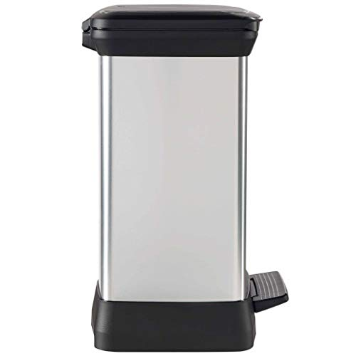CURVER – Cubo de Basura con Pedal, 2 Compartimentos Duo DECOBIN 10+18L, Plata, 39 x 29 x 50,5 cm, plástico