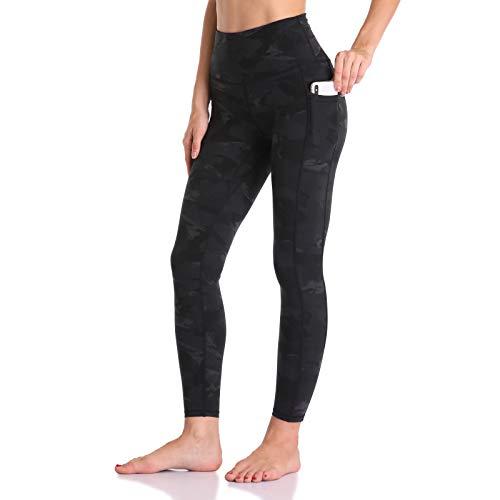 Colorfulkoala Women's High Waisted Yoga Pants 7/8 Length Leggings with Pockets (S, Deep Grey Splinter Camo)