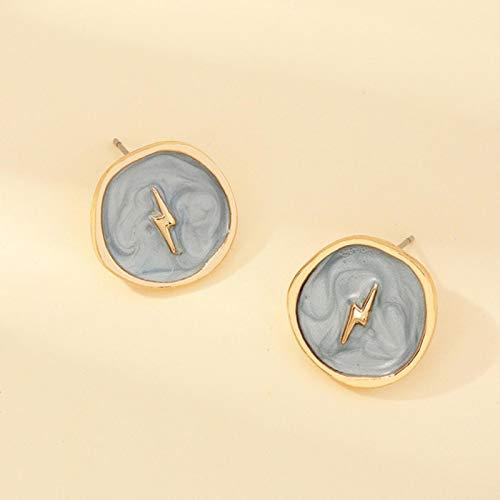 AQUALITYS Women Earrings Jewelry Fashion Korean Alloy Drop Oil Love Moon Lightning Flash Round Stud Earrings For Girls Party-NZ2743lanse