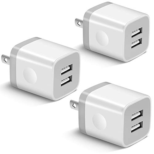 USB Wall Charger, KENHAO 3-Pack 2.1A/5V Dual Port USB Plug Power Adapter Charging Block Cube Compatible with iPhone 11 /Pro Max, XR/XS/X 8/7/6 Plus, Samsung, Moto, Kindle, Android Phone -White