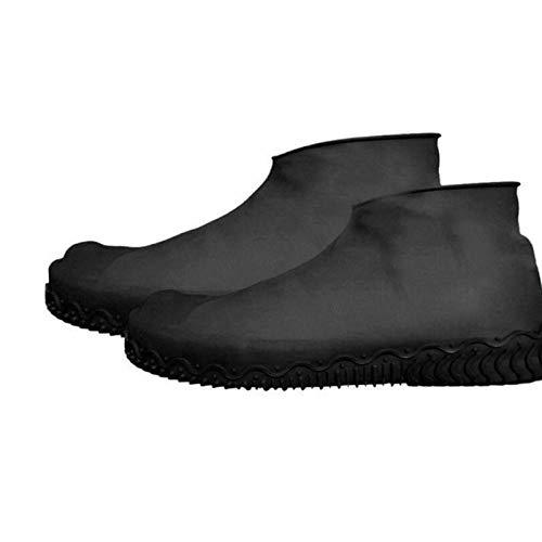 Zhaoyangeng Verdikte siliconen regenlaarzen waterdichte schoenovertrekken Unisex beschermschoenen Transparante antislip waterdichte regenjas dames - Zwart M Maat