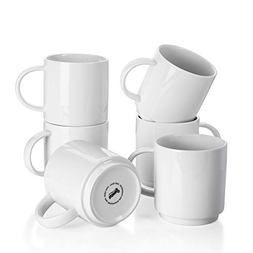 Sweese 616.001 Stackable Coffee Cups - 10 Ounce for Specialty Coffee Drinks, Cappuccino, Cafe Mocha, Latte and tea, Set of 6, White