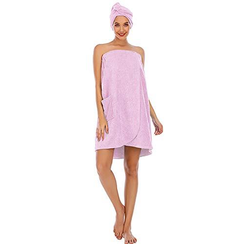 Toallas para Mujer, Toallas de algodón de bambú para SPA con Cierre y Bolsillo, Albornoz y Vestido de Toalla de Ducha