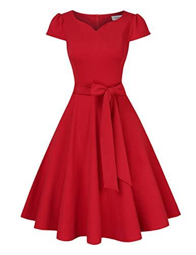 Clearlove Rockabilly jurk voor dames, jaren 50 retro, cocktailjurk, V-hals, verpakking MEHRWEG