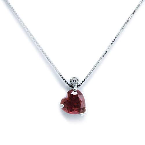 MILLE AMORI ∞ Collar de mujer Oro Diamante y Rubí natural glass filled ∞ 9K oro blanco/amarillo 375 ∞ Diamante 0.015 Ct Rubí 1.10 Ct 5x5 mm