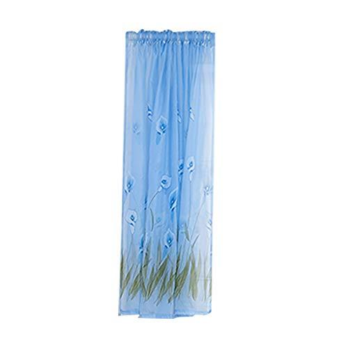 Xmiral Türvorhang Tüll Drucken Transparent Kurz Dekoration Gardine Mit Stangenloch 200cmx130cm Für Kinderzimmer Wohnzimmer Schlafzimmer(E)