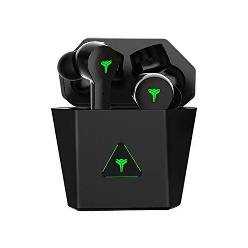 HUJIN i38s - Auriculares inalámbricos para juegos con funda de carga, Bluetooth 5.0 con micrófono para deportes, correr, juegos