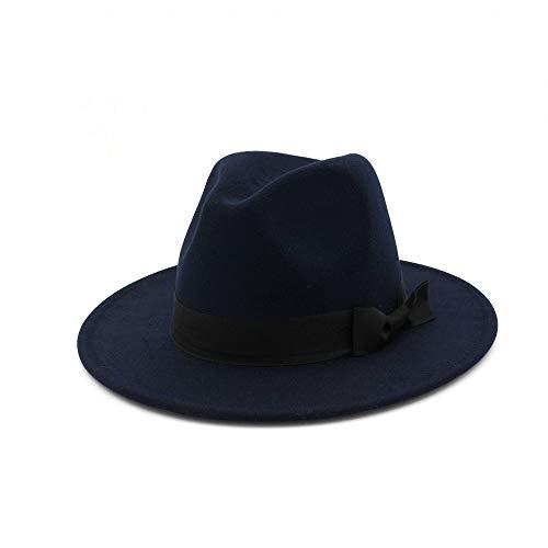 TX GIRL Chapeau en Feutre de Laine Fedora Hommes Femmes Stetson Gentleman Chapeau Panama Large Brim (Color : Drak Blue, Size : 56-58)