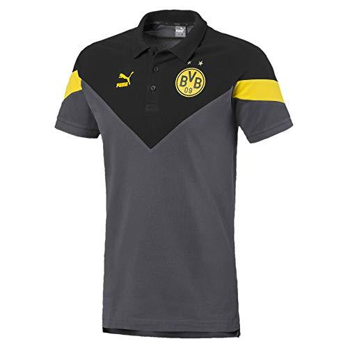 PUMA Herren Poloshirt BVB Iconic MCS, Asphalt/Black, S, 756722