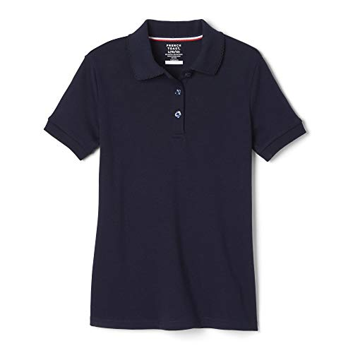 French Toast Girls Size' Short Sleeve Interlock Polo with Picot Collar, Navy, X-Large/18/20/Plus