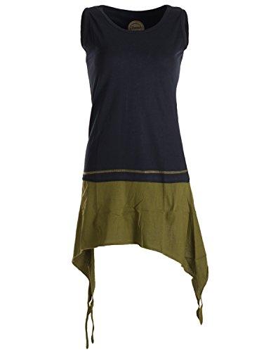 Vishes - Alternative Bekleidung - Ärmelloses, asymmetrisches Elfen Zipfelkleid aus Biobaumwolle im Lagenlook schwarz-Olive 36/38
