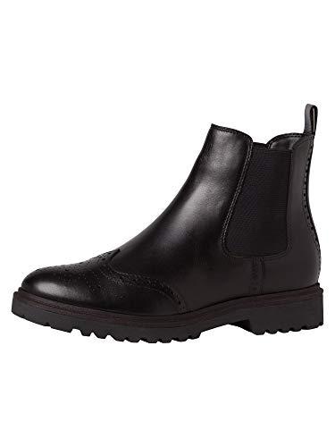 Tamaris Damen Stiefeletten, Frauen Chelsea Boots, Stiefel halbstiefel Bootie Schlupfstiefel flach weiblich Lady Ladies,Black Leather,39 EU / 5.5 UK