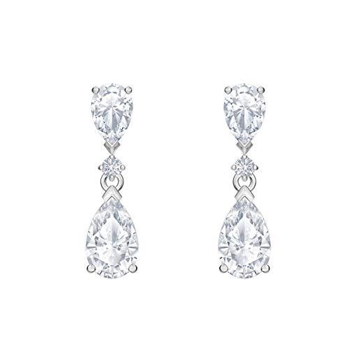 Swarovski Attract Drop Ohrringe, Weiße und Rhodinierte Ohrringe mit Funkelnden Swarovski Kristallen