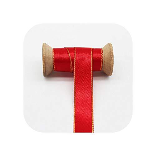 Cintas de Navidad con estampado dorado de grogrén de raso a cuadros de Navidad Feliz Navidad copo de nieve árbol Alce Artesanía para el pelo de lazo Accesorios-9 mm 10 m satén rojo