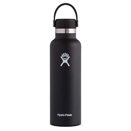 Hydro Flask Trinkflasche, Edelstahl und vakuumisoliert, Standard-Öffnung mit auslaufsicherer Flex Cap, schwarz, 621ml (21oz)