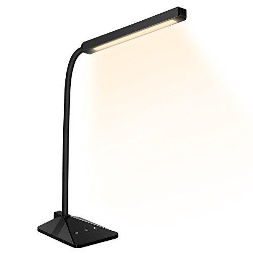 VicTsing 8W LED Eye-Care Lámpara para Escritorio, LED Lámpara de Mesa, de Control Táctil y Tecnología de Protección de Ojos, 5 Niveles de Brillo y 5 Modos de Color – Color Negro