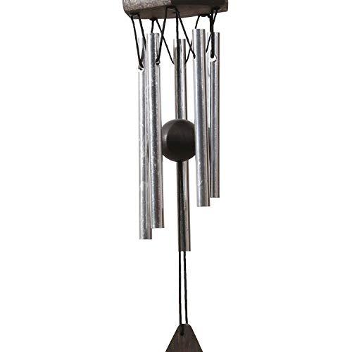 OSVINO Klangspiele Windspiele Aluminium mattiert klein Gesamtlänge 30,5cm/35,6cm für Garten draußen, Silber 30.5cm
