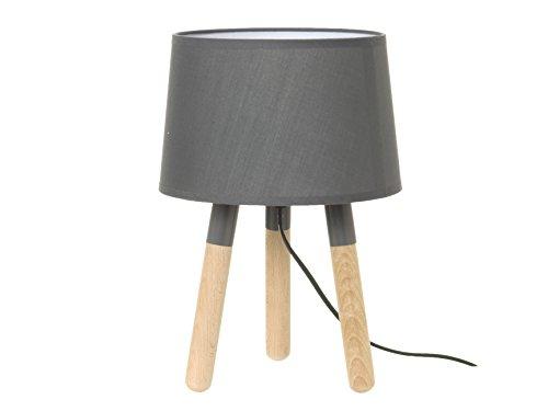 Leitmotiv LM1039 Lampe de Table Bois Abat Jour Gris Foncé 22,5 x 25 cm