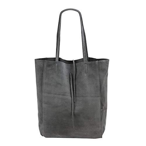 SH Leder ® Damen Echt Wildleder Shopper mit Innentasche in vielen Farben Schultertasche Henkeltasche 37x29cm Katrin G261 (Dunkel Grau)