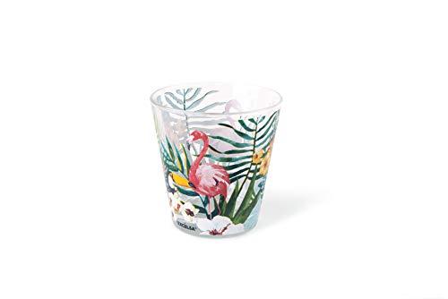 Excelsa Tropical Lot de 6 verres à eau, verre, décorations tropicales