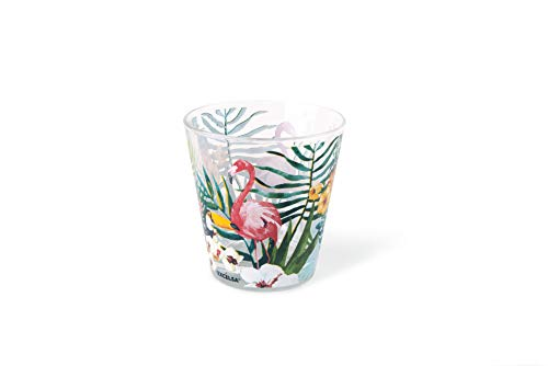 Excelsa Tropical - Juego de 6 vasos de agua, cristal, adornos tropicales