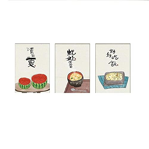 RLJHG Pinturas De Lienzo De Comida De Estilo JaponéS Chino Citas De Gatos Poster Impresiones Cocina Oriental Cuadros ArtíSticas De Pared Decoracion De Restaurante En Casa 40x50cmx3 Sin Marco