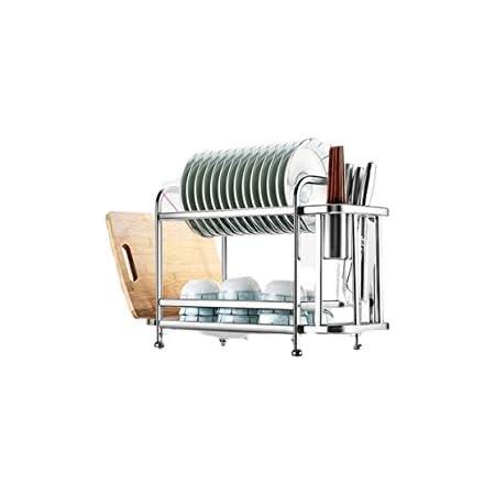 Escurridor de trastes de 58 cm, 2 niveles, superior para platos, inferior para vasos, escurridor de platos, escurridor para platos