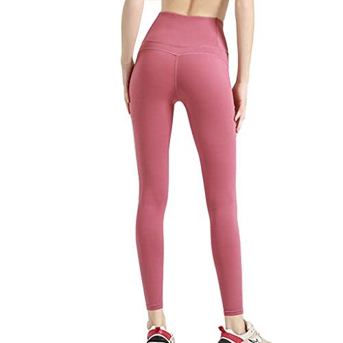 ZZAL los Pantalones Yoga Medias Deportivas de Nailon Sin Costuras y Polainas de Levantamiento de Yoga de Cintura Alta(Size:XXL,Color:Rojo)