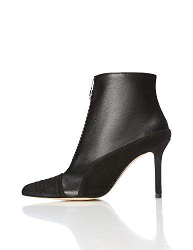 find. Stiefel Damen aus Glatt- und Rauleder, mit Reißverschluss, Schwarz (Black), 39 EU