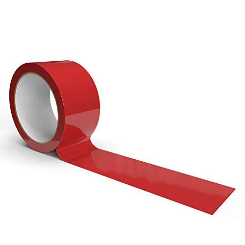 IMBALLAGGI 2000-1 Pezzo,Nastro Adesivo Pacchi da Imballaggio - 50x66 - Nastro da Imballo Rosso per Trasloco e Trasporto
