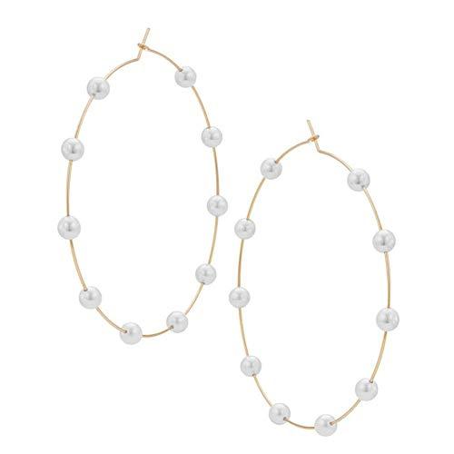 Perlenohrringe, große Kreise, Ohrhänger, Perlenohrringe, Durchmesser 12 cm