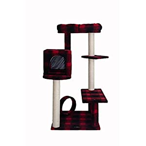 Armarkat Model B5008 50-inch Classic Cat Tree with Veranda, Bench, Mini Perch, and Spacious Lounger in Scotch Plaid…