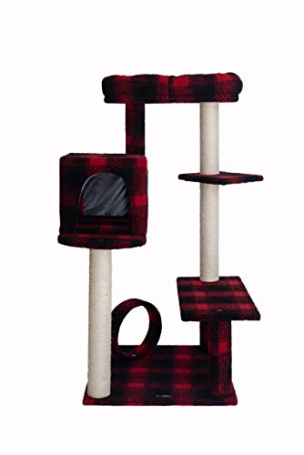 Armarkat Modell B5008 Klassischer Kratzbaum mit Veranda, Bank, Mini-Sitzstange und geräumiger Liege in Scotch Plaid, Schwarz/Rot, 78,7 cm (L) x 71,1 cm (B) x 127 cm (H)