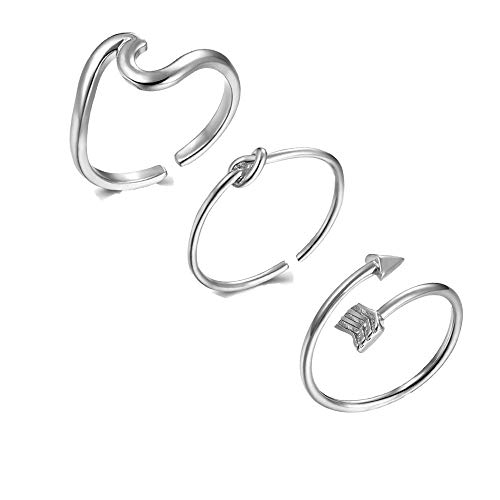 choice of all 3Pcs Arrow Knot Wave Rings for Women Simple Adjustable Rings Set (A:Sliver)