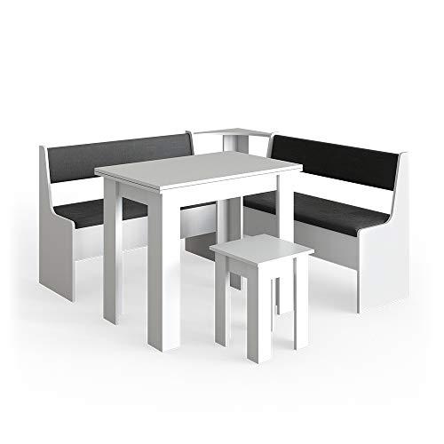 Vicco Eckbankgruppe Roman Esszimmergruppe Eckbank Sitzgruppe Tisch Hocker (Weiß, 150x150cm)