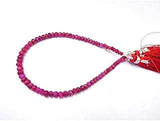 "Jewel Beads Natural Beautiful jewellery 8"" Strand Red Corundum 3-4.5 Mm Natural Gemstone Faceted Rondelle Beads rondelle beads,beads,rondelle, faceted beads, rondelle bead,Code:- JBB-19206"