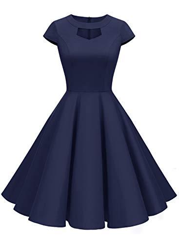ALAGIRLS Damen 60 Jahre Vintage Cocktailkleid Abschlussball Rockabilly Retro Schwingen Sommer Kleid ALA6004 Navy M