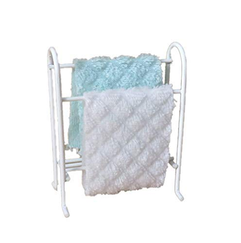 Melody Jane Casa de Muñecas Blanco Alambre Toallero Estante & Aqua & Blanco Toallas Muebles de Baño