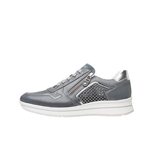 Nero Giardini P805241D Sneakers Donna in Pelle, Camoscio E Tela - Navy 35 EU