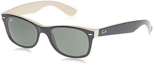 Ray-Ban RB2132 New Wayfarer Sunglasses, Black On Beige/Green,55 mm