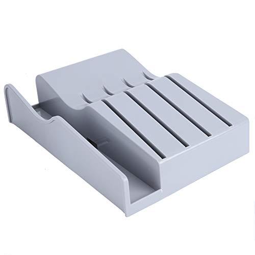 Knivblock med skärbräda ställ, 4 knivar hållare organiserare för kök bänkskåp skåp skåp grå