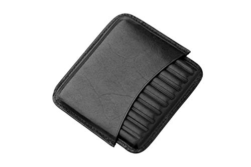 GERMANUS Zigarillo Etui BZW. Zigaretten Etui aus Leder, schwarz, für 10 Zigarillos oder Zigaretten