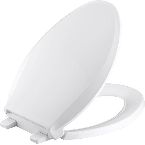KOHLER K-7315-0 Quick-Relase Elongated Toilet Seat White GRIP-TIGHT CACHET, 1