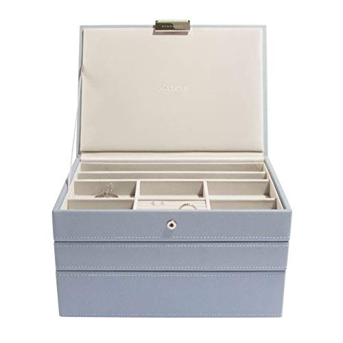 Stackers Dusky Blue Classic Medium Jewellery Box, Set of 3