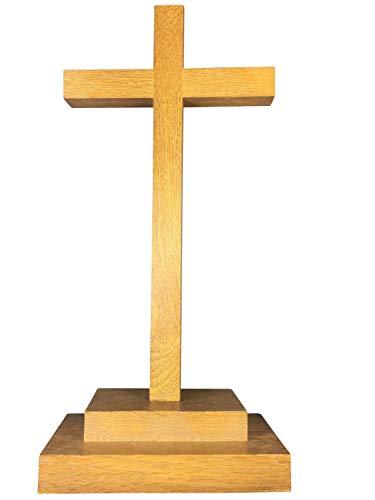 Motivationsgeschenke Holz Kreuz Stehkreuz schlicht Eichenholz 29 cm Hellbraun Tischkreuz Versehkreuz mit Sockel