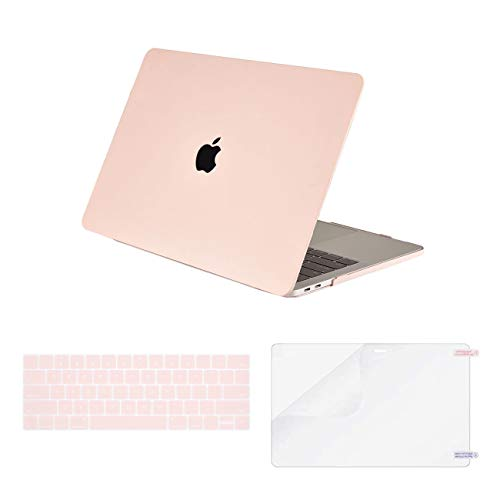 Olort Laptop Case Compatible MacBook Pro 13 inch 2020/19/2018/17/16 Release A2289 Plastic Hard Shell Case&Keyboard Cover&Screen Protector for Mac Book Pro 13 (Pink)
